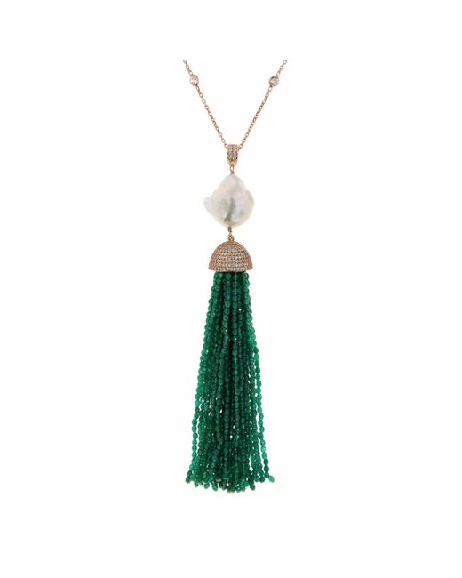 Cosanuova - Green Jade Baroque Tassel Necklace - Lyst