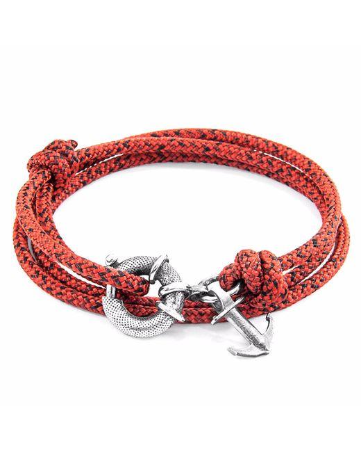 Anchor & Crew | Red Noir Clyde Silver & Rope Bracelet for Men | Lyst