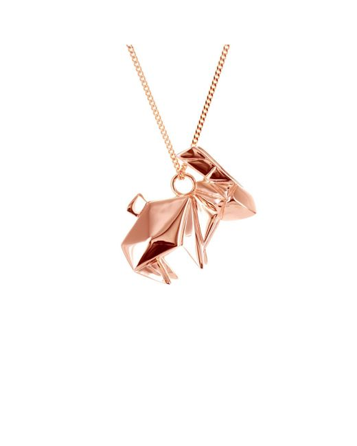 Origami Jewellery - Multicolor Rabbit Necklace Pink Gold Plated - Lyst