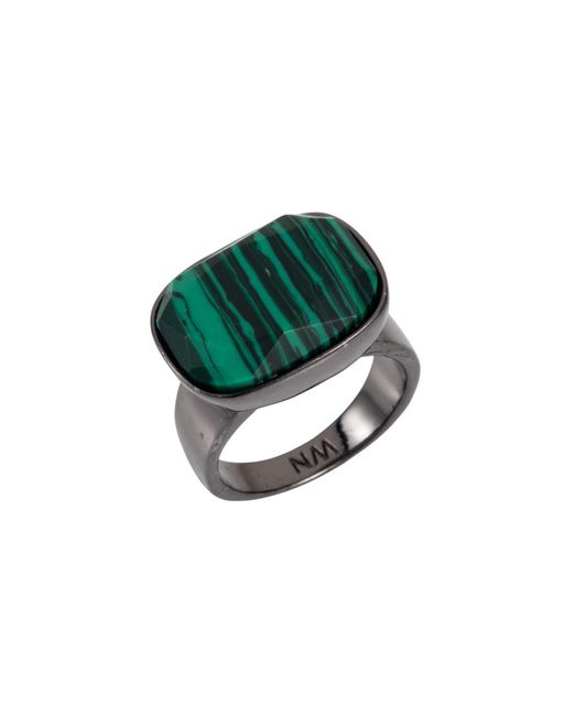 Nadia Minkoff - Green Semi Precious Horizontal Ring Gunmetal With Malachite - Lyst
