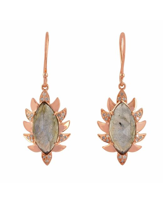 Meghna Jewels - Multicolor Claw Single Drop Marquise Earring Labradorite & Diamonds - Lyst
