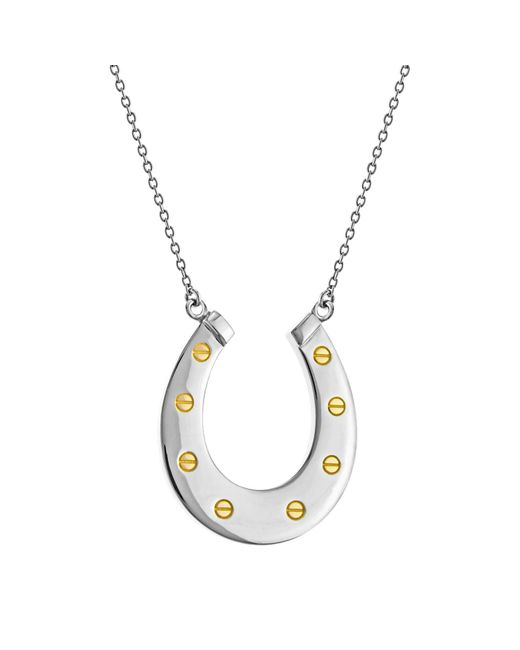 True Rocks | Metallic Large Horseshoe Two Tone Necklace | Lyst