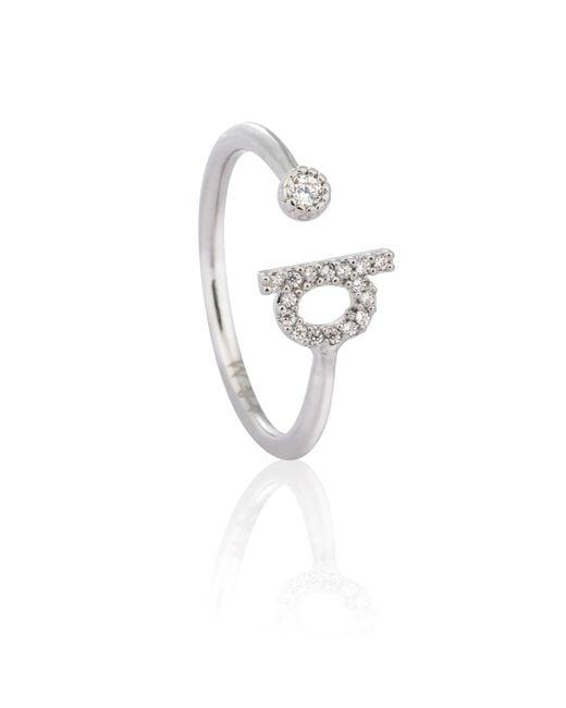 Astrid & Miyu - Metallic Silver Initial Q Ring - Lyst