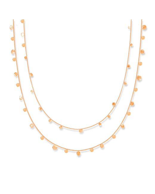 Lily Flo Jewellery - Metallic Stardust Scattered Dots Solid Rose Gold Double Layered Necklace - Lyst