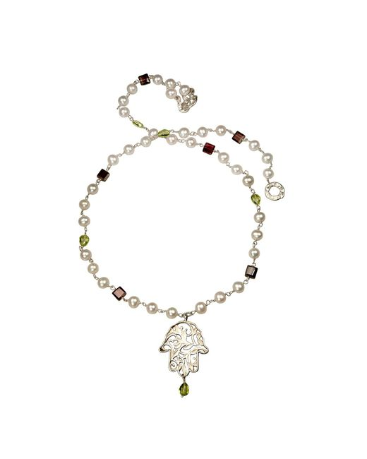 Xanthe Marina | White Hand Of Hamsa Pearl & Gemstone Necklace | Lyst
