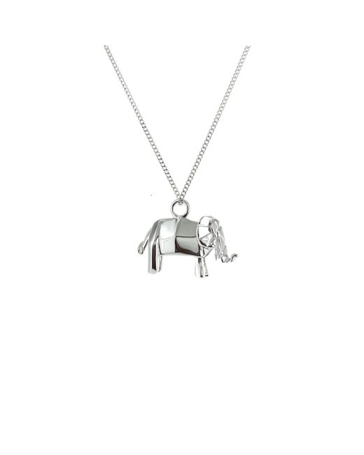 Origami Jewellery - Metallic Mini Elephant Necklace Silver - Lyst