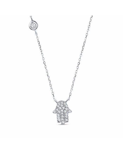 Cosanuova - Metallic Hamsa Necklace White Gold - Lyst