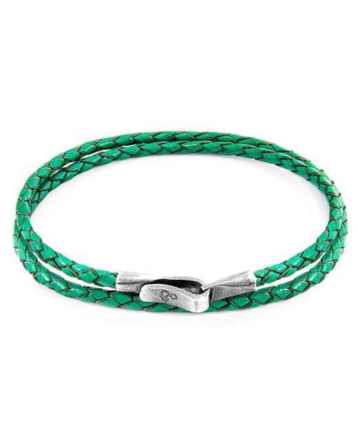 Anchor & Crew - Fern Green Liverpool Silver & Leather Bracelet - Lyst