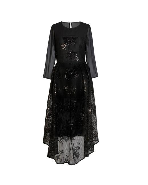 Jelena Bin Drai | Black Sequin Net Chiffon Dress | Lyst