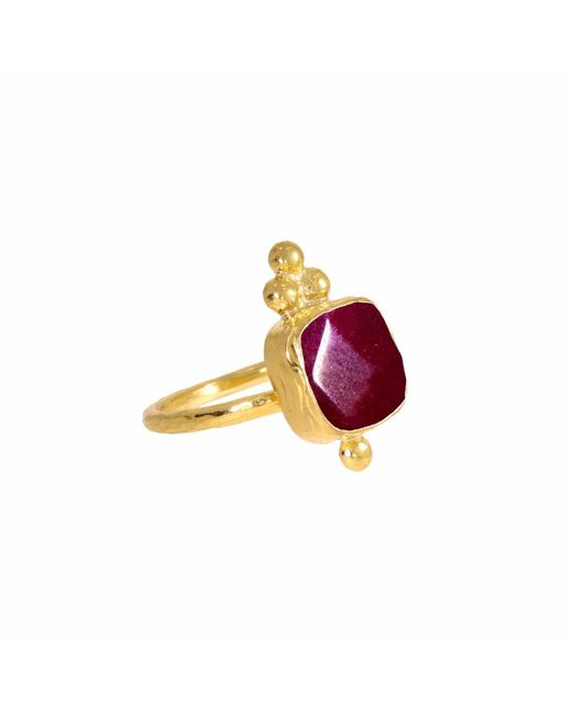 Ottoman Hands   Miniature Red Agate Square Triple Bead Cocktail Ring   Lyst