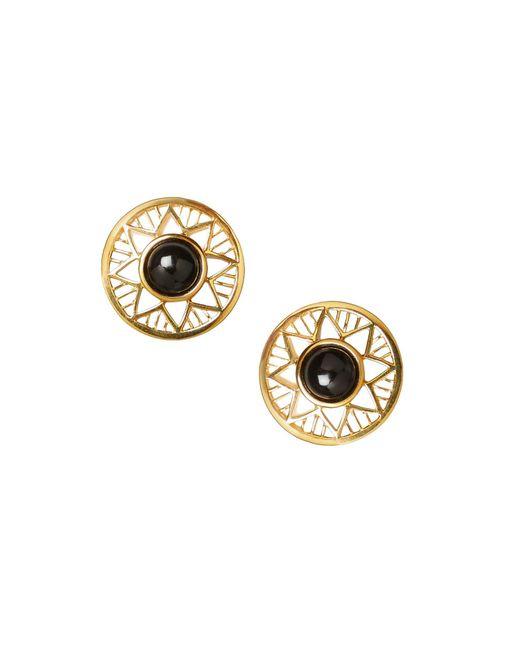Alexandra Alberta - Metallic Yellow Gold Plated Chelsea Earrings With Black Onyx - Lyst