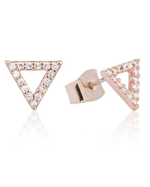 Astrid & Miyu - Pink Tuxedo Triangle Earrings Rose Gold - Lyst