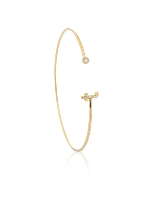 Astrid & Miyu - Metallic Gold Initial T Bangle - Lyst