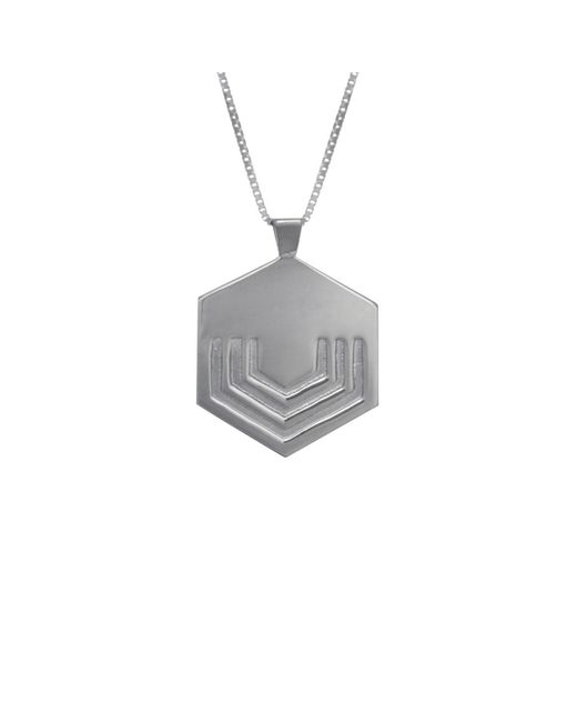 Edge Only - Metallic Hexagon Necklace Large In Silver for Men - Lyst
