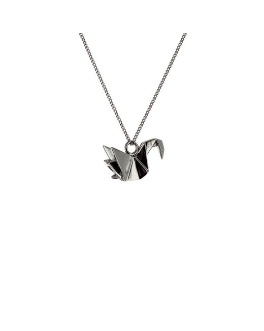 Origami Jewellery - Black Mini Swan Necklace Gun Metal - Lyst