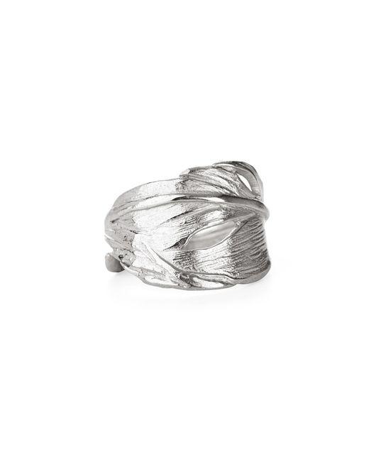 Chupi - Metallic Swan Feather Ring In Silver - Lyst
