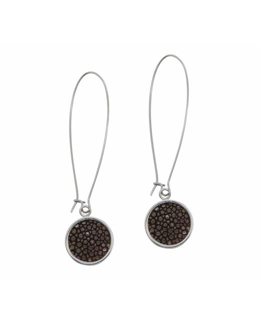 N'damus London - Silverdale Brown Stingray Leather & Steel Drop Earrings - Lyst