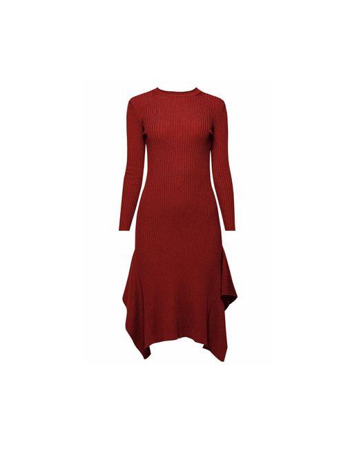 Rumour London - Red Alexa Asymmetric Ribbed Wool Midi Dress In Burgundy - Lyst