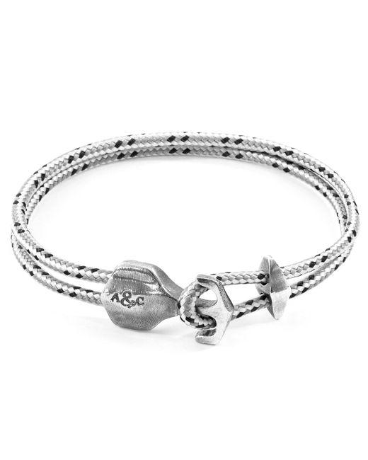 Anchor & Crew - Metallic Grey Dash Delta Silver & Rope Bracelet - Lyst