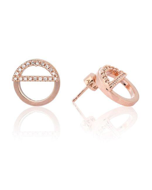 Astrid & Miyu - Metallic Half Circle Ear Jacket In Rose Gold - Lyst