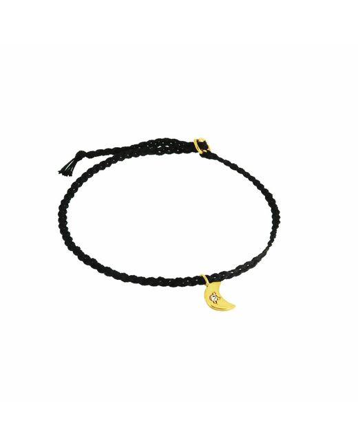 Yvonne Henderson Jewellery - Metallic Tiny Crescent Moon Friendship Bracelet On Black Silk - Lyst