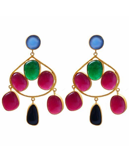 Carousel Jewels - Metallic Chalcedony Aventurine & Black Onyx Gold Statement Earrings - Lyst