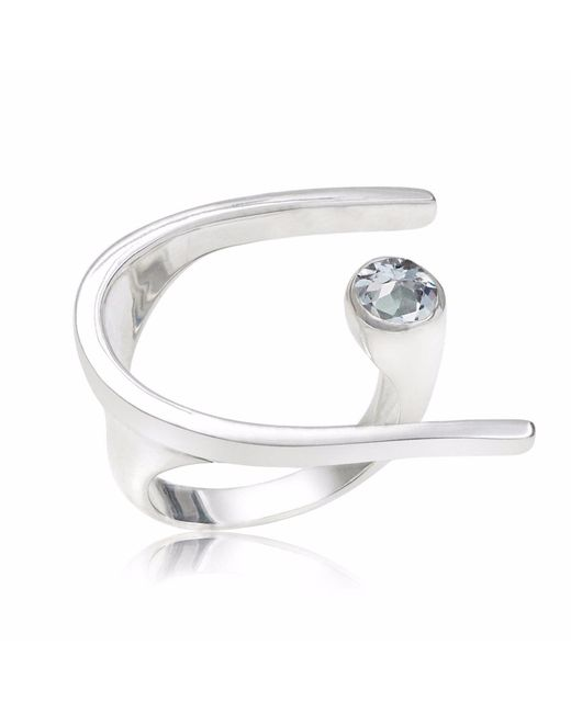 Neola - Metallic Lunaria Sterling Silver Cocktail Ring With Blue Topaz - Lyst