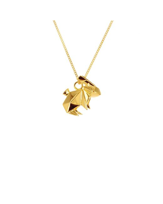 Origami Jewellery - Metallic Mini Rabbit Necklace Gold - Lyst