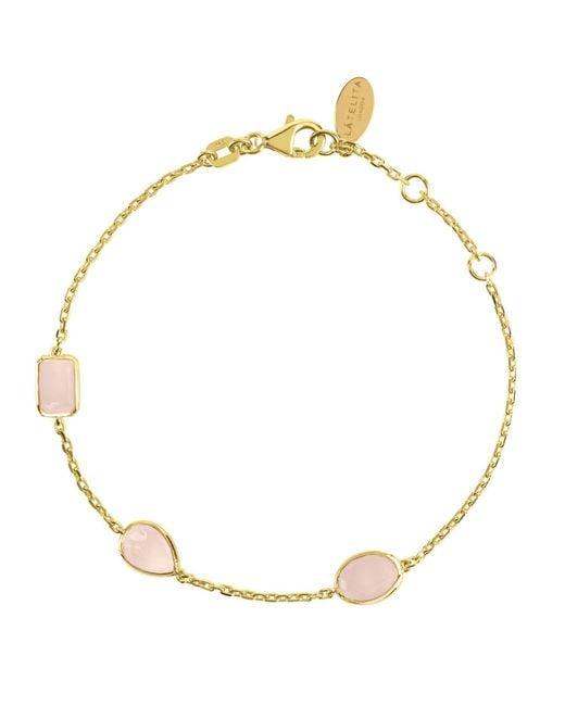 Latelita London - Metallic Venice Bracelet Gold Rose Quartz - Lyst