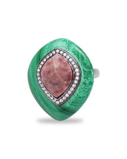 Bellus Domina | Green Adjustable Jasper & Malachite Cocktail Ring | Lyst