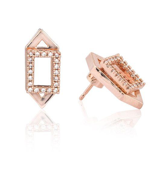 Astrid & Miyu - Metallic Rectangle Ear Jacket In Rose Gold - Lyst