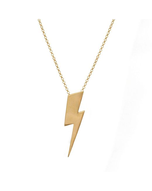Edge Only - Metallic Flat Top Lightning Bolt Pendant Long Gold - Lyst