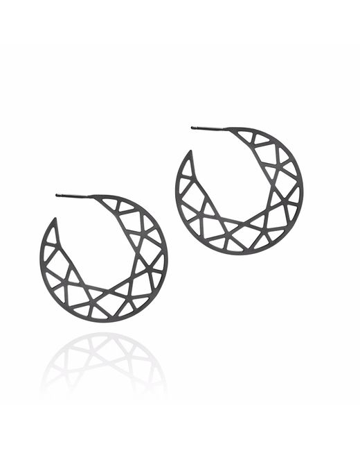 Myia Bonner - Metallic Black Brilliant Diamond Hoop Earrings - Lyst