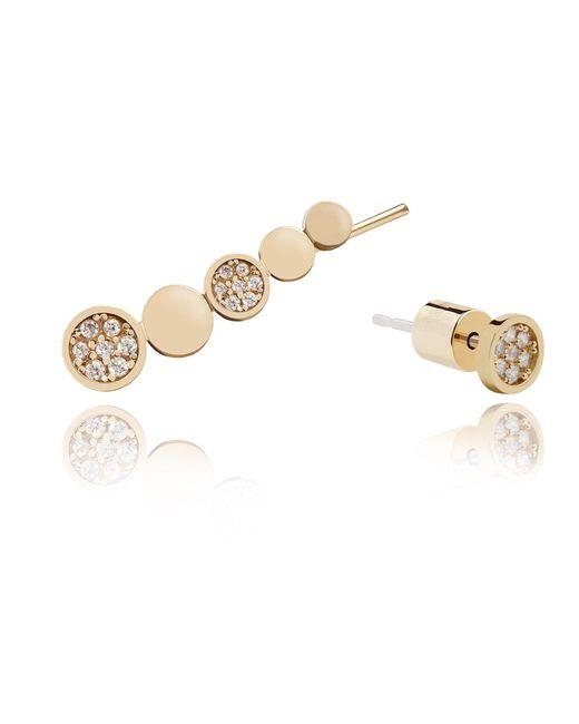 Astrid & Miyu | Metallic Black Magic Circle Earrings In Gold | Lyst