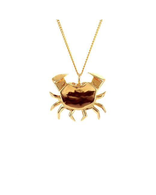 Origami Jewellery - Metallic Sterling Silver Gold Plated Crab Necklace - Lyst