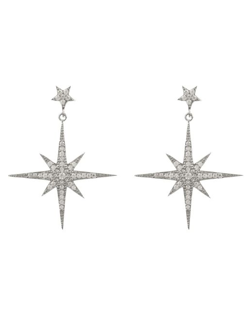 Latelita London - Metallic Star Burst Drop Earring Silver - Lyst