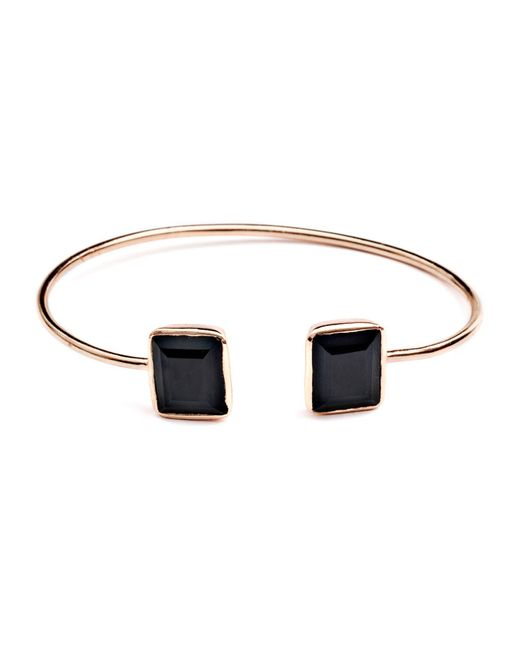 Azuni London   Alexia Prism Bangle In Rose Gold & Black Onyx   Lyst