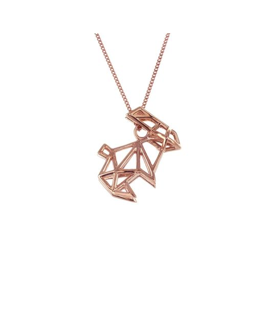 Origami Jewellery - Metallic Frame Rabbit Necklace Rose Gold - Lyst