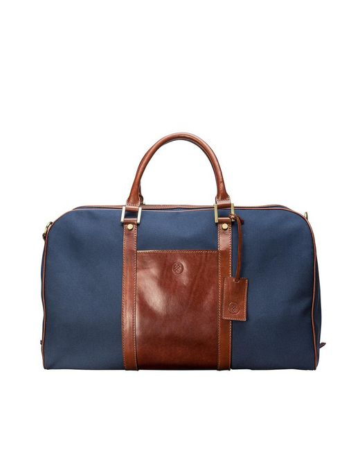 Maxwell Scott Bags | Blue Medium Navy Canvas & Tan Leather Luggage Bag Giovane M for Men | Lyst