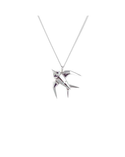 Origami Jewellery - Metallic Mini Swallow Necklace Silver - Lyst