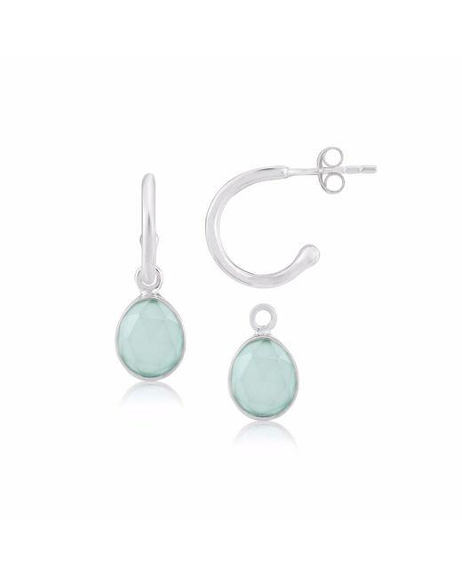 Auree Jewellery | Metallic Manhattan Sterling Silver & Aqua Chalcedony Interchangeable Gemstone Hoop Earrings | Lyst