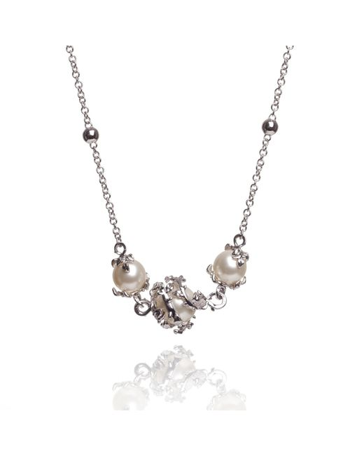 Kasun - Metallic Ivory 3 Pearl Necklace - Lyst