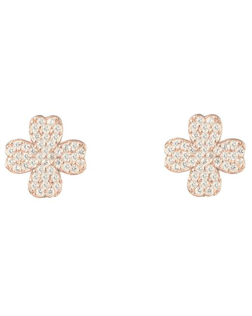 Latelita London - Metallic Lucky Four Leaf Clover Earring Rose Gold - Lyst