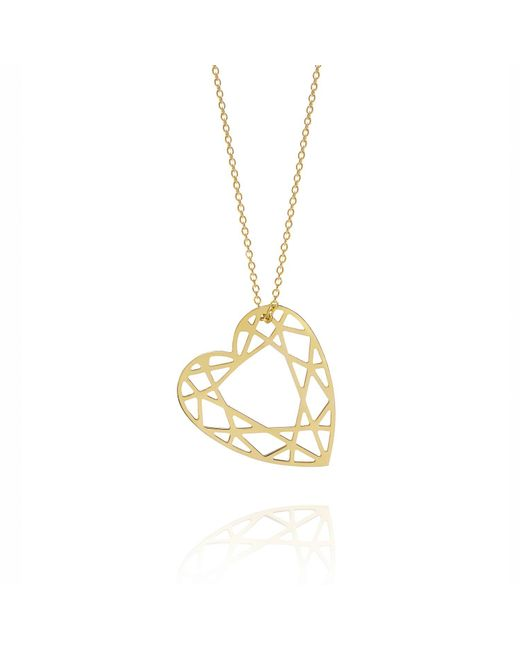 Myia Bonner - Metallic Gold Heart Diamond Necklace - Lyst