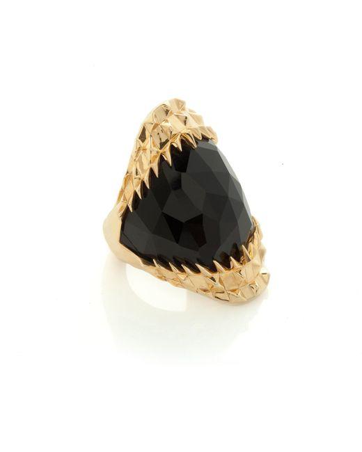 Kasun - Metallic Black Vampire Bite Ring Gold - Lyst