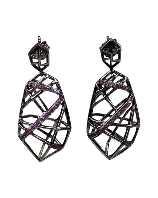 Bellus Domina - Black Hexa Ruthenium Earrings - Lyst