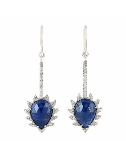 Meghna Jewels | Claw Linear Earrings Blue Sapphire & Diamonds | Lyst