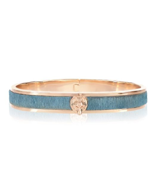 Alexa K - Metallic Gold Faux Fur Wolf Bangle - Lyst