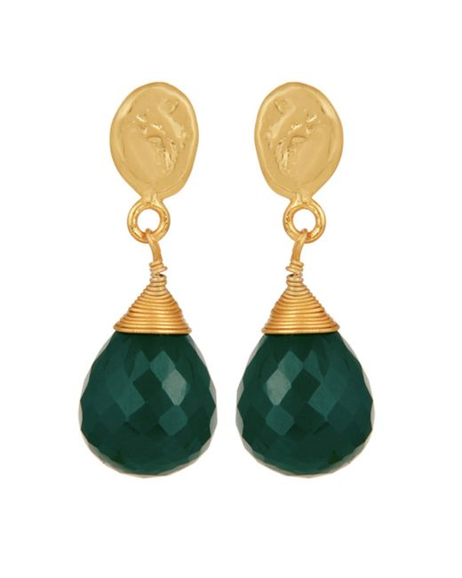 Carousel Jewels - Textured Gold Nugget & Green Onyx Drop Earrings - Lyst