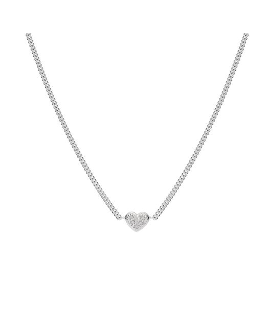 Isabel Lennse - Metallic Mini Heart White Diamond Necklace - Lyst